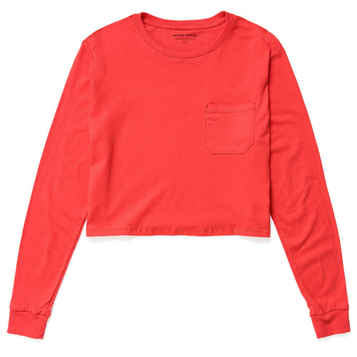 Richer Poorer - Women's Long Sleeve Crop - Red