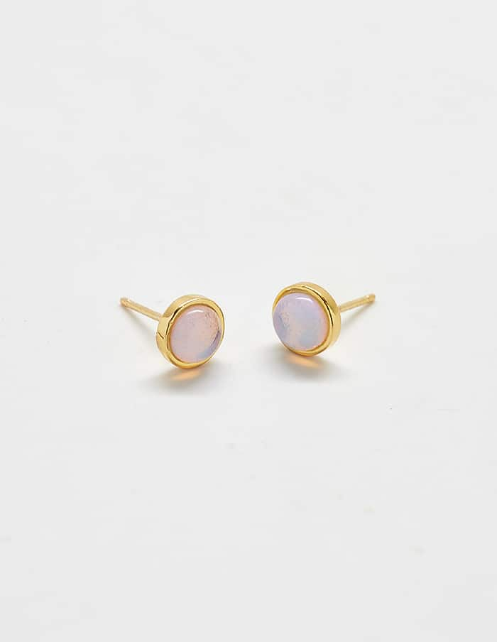 Tiny Gold Opal Stone Stud Earrings