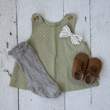 grey high knee socks with green polka dot toddler dress and little poppy bow