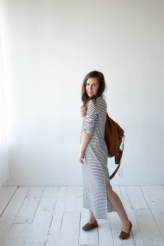B + W Striped Midi Dress