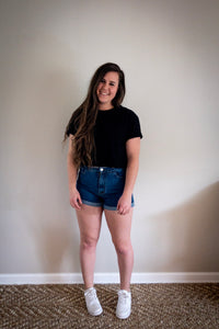 High-Waisted, Scalloped Jean Shorts