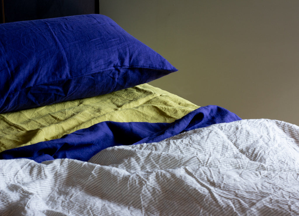 blue pillowcase blue linen
