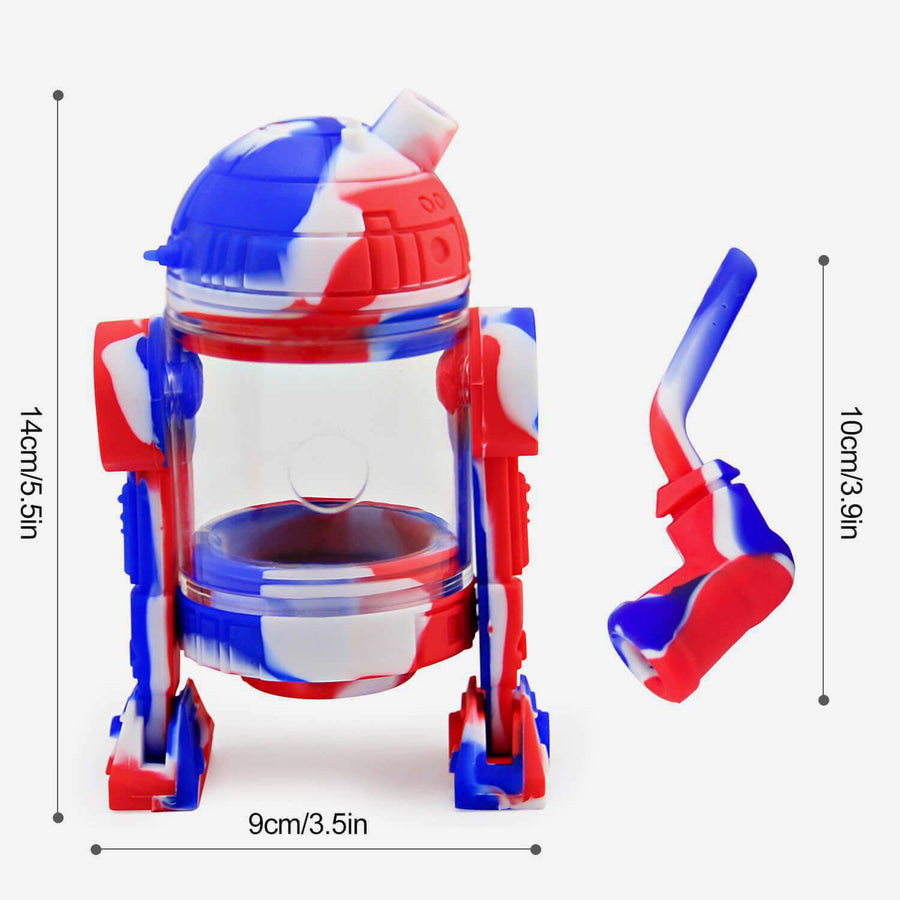 Silicone Bubbler Robot Red & Blue - INHALCO