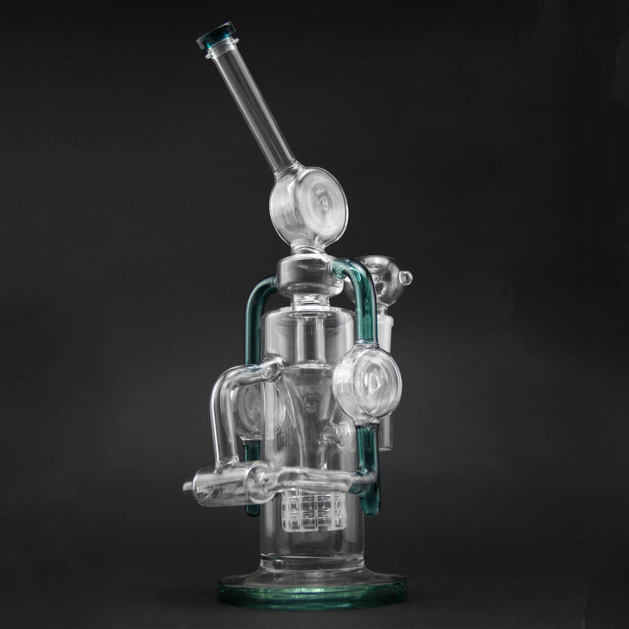 Double Recycler Glass Bong 13″ - INHALCO