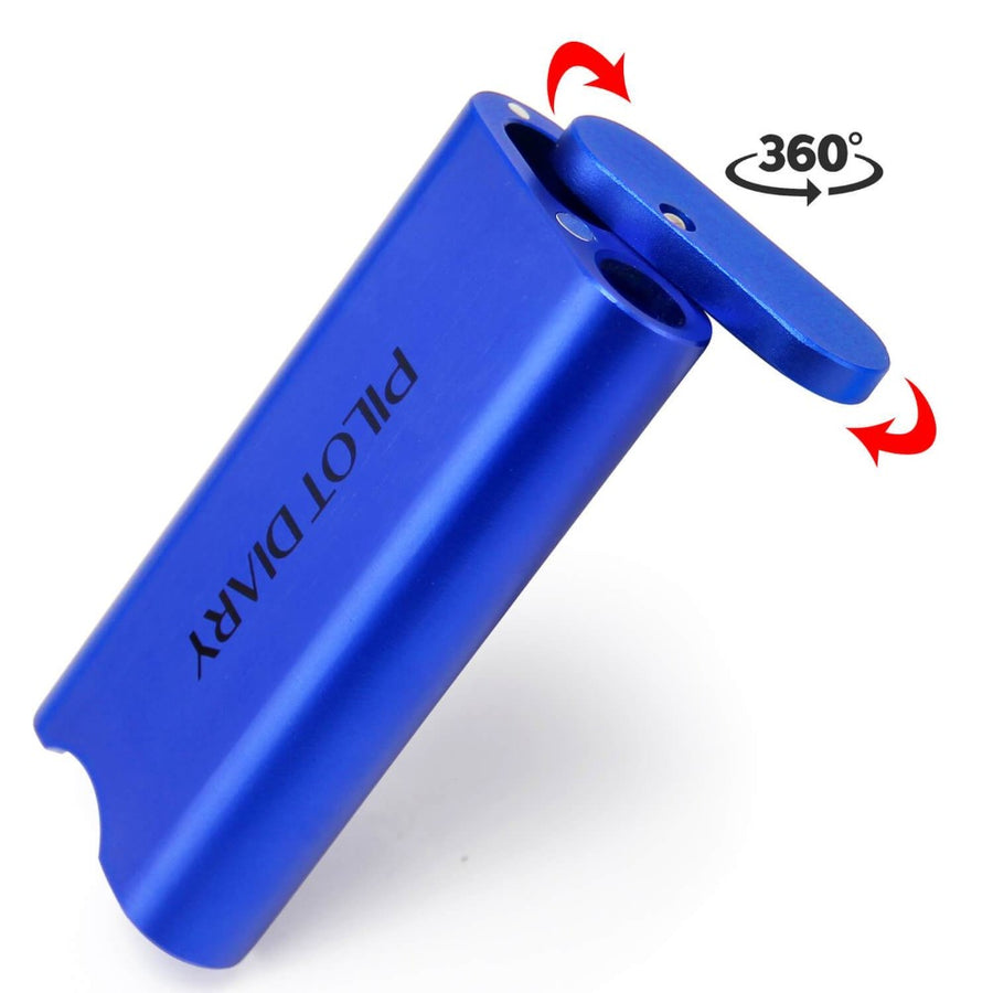 One Hitter Dugout With Magnetic Rotating Lid Blue- INHALCO