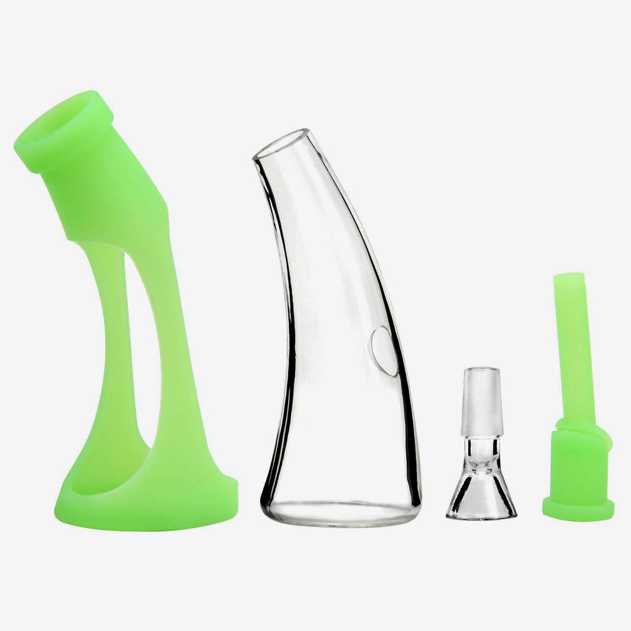 Mini Silicone Glass Bong Green- INHALCO