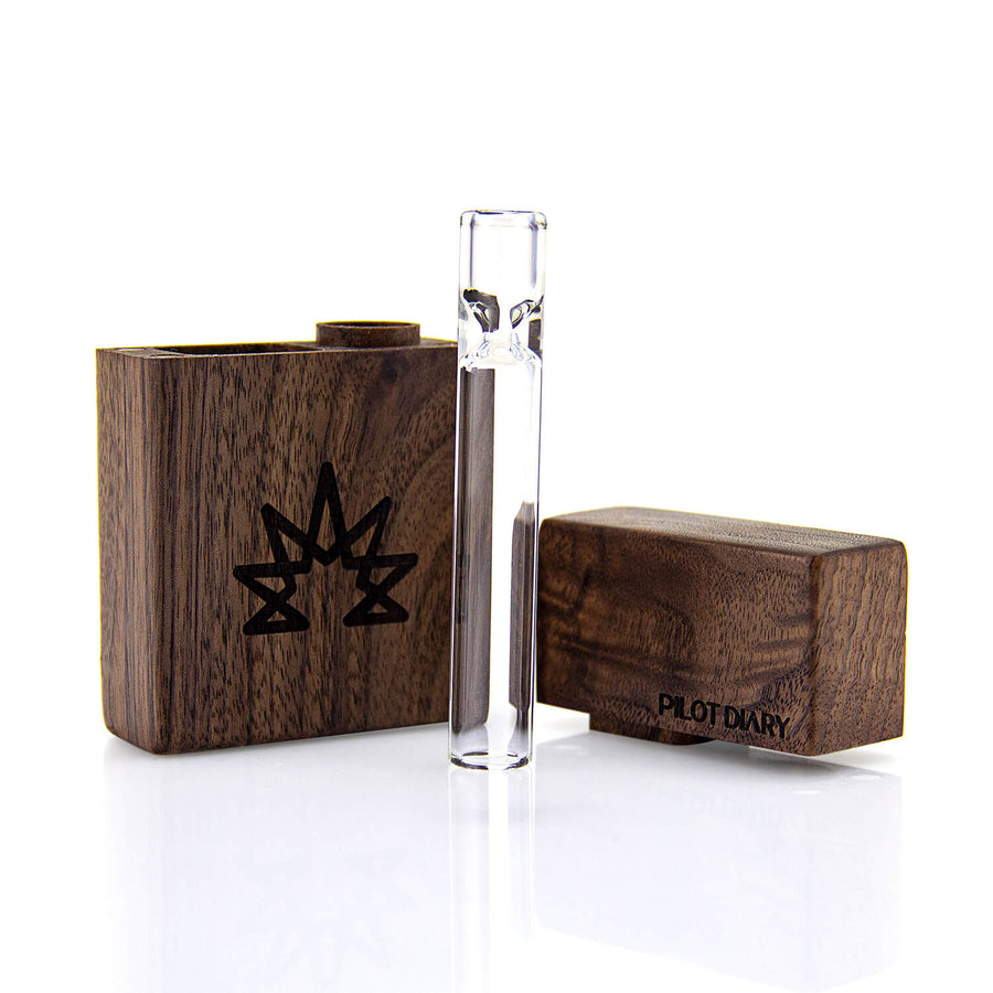 Wood Dugout With Glass One Hitter Pipe - INHALCO