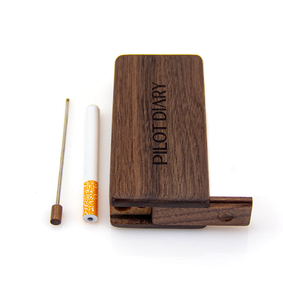 Wooden Dugout Slide Lid with Cigarette Bat - INHALCO