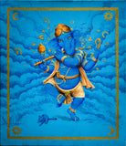 Wedding gift: Dancing Lord Ganesh with flute in Gold and Blue