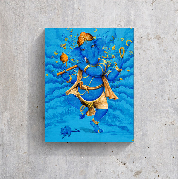 Happy Dancing Ganesh in blue clouds