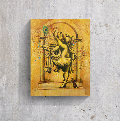 Happy walking Ganesha artwork in yellow and black