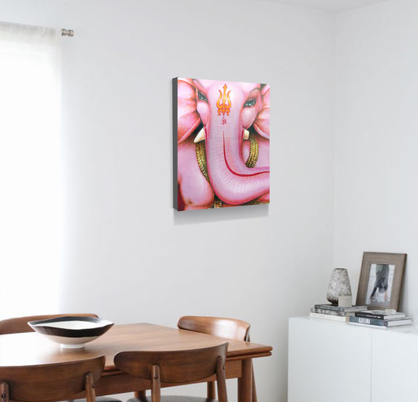 Pink Ganesh face wall art decor