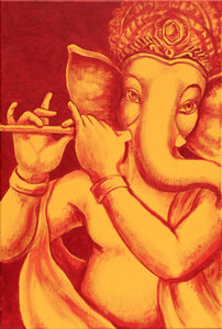 Yellow-dark-red-Ganesha-with-flute