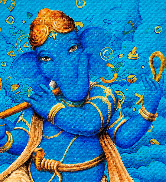 Close-up Lord Ganesh painting