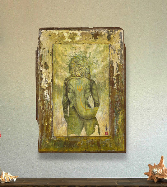 original painting old wood Ganesh