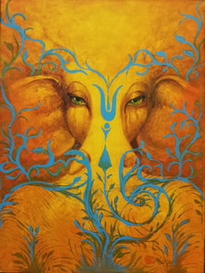 Ganesha in yellow and blue peaceful emotional tranquility