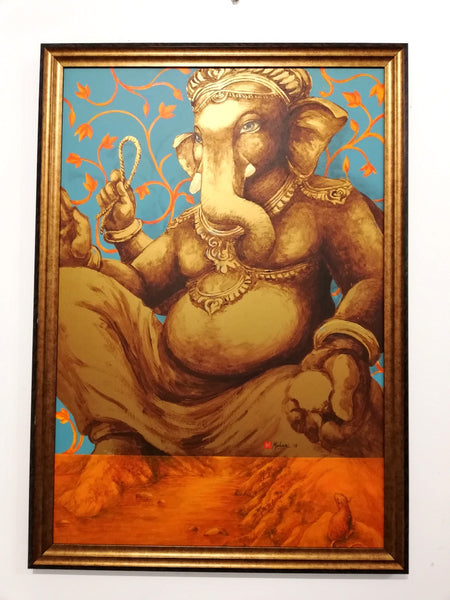 Ganesha painting traditional pose