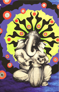 Lord Ganesh elephant drums bright colors