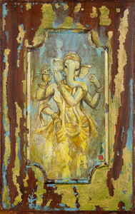Female-Ganesh-playing-flute-old-wood-painting