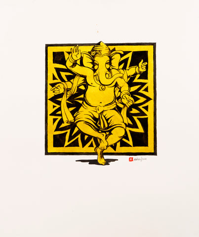 Dance-of-creation-Black-Gold-Ganesha