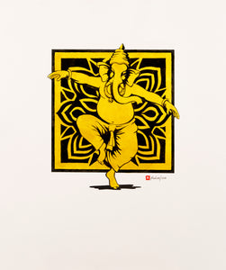 Dancing-Ganesh-in-Gold-Black