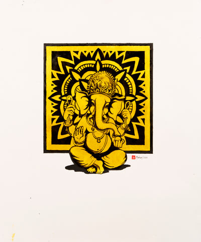 sitting-Ganesha-in-gold-black