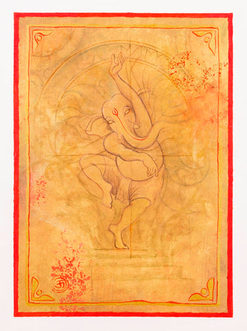 Dancing-Ganesha-in-ochre-red-gold