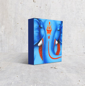 Meditative Ganesha eyes closed blue