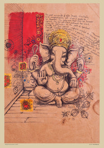 used old brown paper with Ganesh
