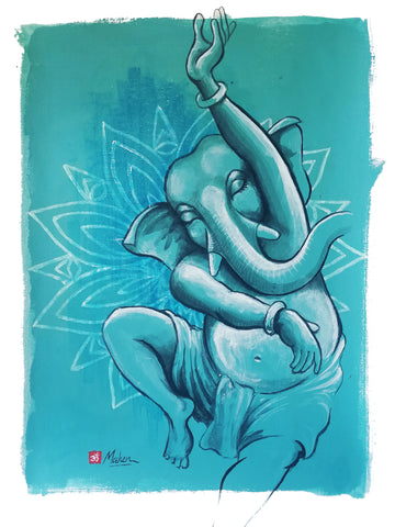 Dancing Ganesh with Lotus flower