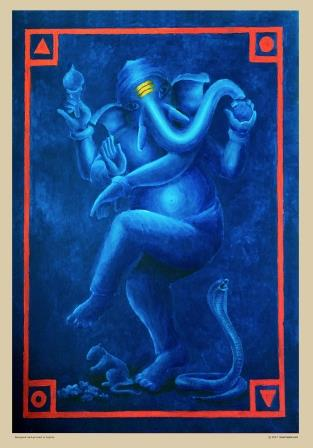 Elephant Hindu god in dark blue