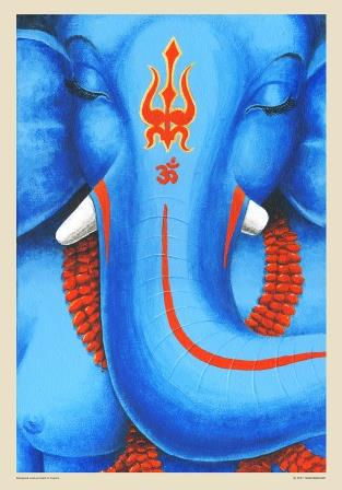deep meditation elephant face in blue
