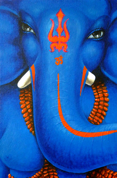 Original painting size Ganesh face dark blue