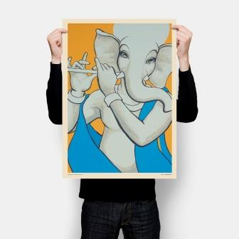 simple minimal Hindu art in yellow, white and blue