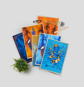 set of colorful Ganesha posters