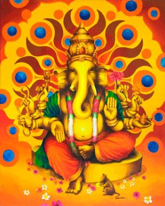 very bright color Ganesh canvas