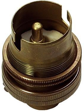 "05142 - BC Lampholder ½"" Unswitched Old English Brass - LampFix - sparks-warehouse"