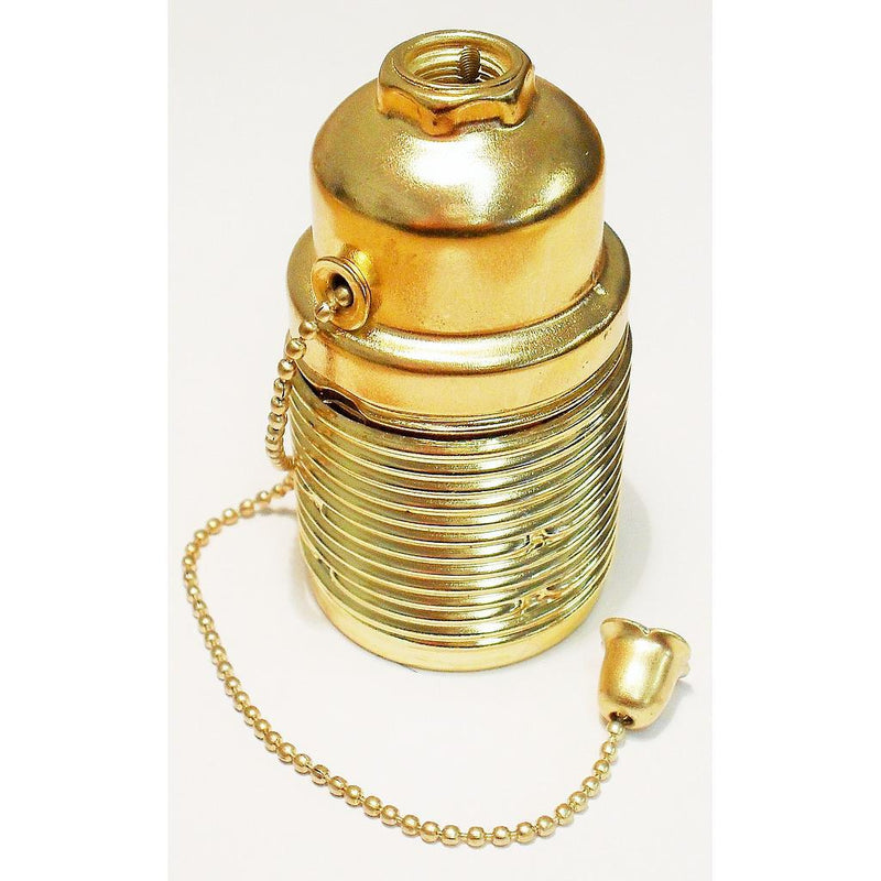 05987 Pull Chain Brass ES Lampholder with 10mm Entry - Lampfix - sparks-warehouse