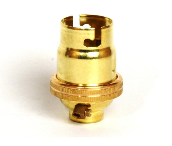 "05138 - BC Lampholder ½"" Unswitched Brass Smooth Skirt - Lampfix - Sparks Warehouse"