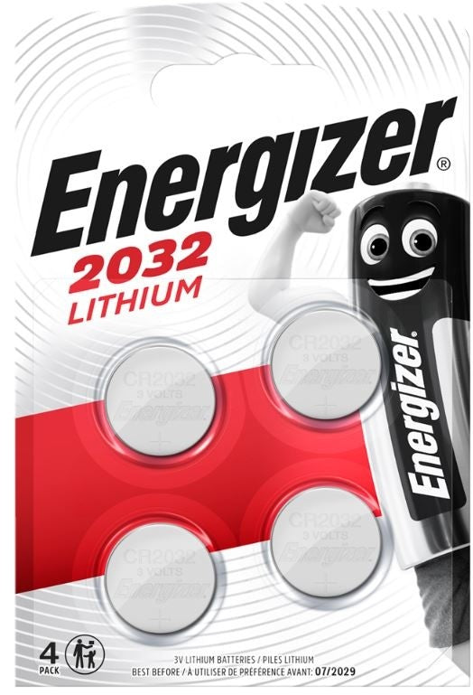 Energizer CR2032 3v Lithium Coin Batteries - Pack of 4