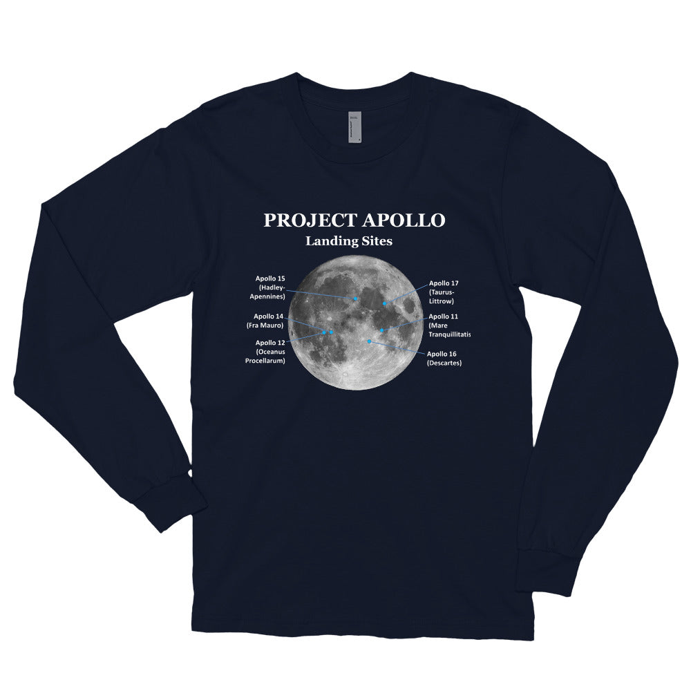 NEW!  Apollo Landing Sites (Navy)