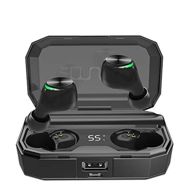 Muzili T22 Wireless Earbuds Hi-Fi Sound Bluetooth 5.0 Headsets CVC 8.0 Noise Cancelling Sports Bluetooth Earphones with Built-in Mic 3000 mAh Charging Case for All Types of Smartphone