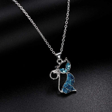 Cat Pendant Blue Opal Necklace Jewelry Gift