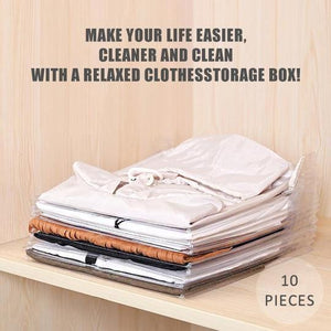 (50% Discount Today)Effortless Clothes Organizer (1 Set 10 PCS)