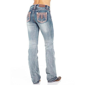 Women's Rhinestone Washed Faded Bootcut Jeans