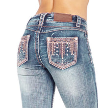 Load image into Gallery viewer, Women's Rhinestone Washed Faded Bootcut Jeans