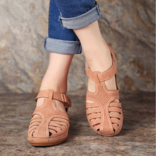 Load image into Gallery viewer, Retro hole shoes non-slip large size round toe wedge comfortable women sandals
