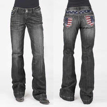 Load image into Gallery viewer, Women's American Flag Washed Faded Bootcut Jeans
