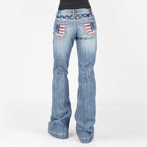 Women's American Flag Washed Faded Bootcut Jeans