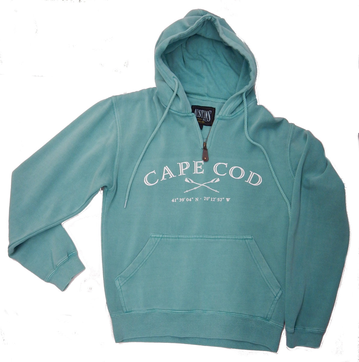 Quarter Zip Pigment-Dyed Hooded Sweatshirt<br>CAPE COD<br>by Austin's